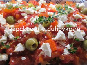 Баклажаны запеченные с помидорами и фетой по-гречески