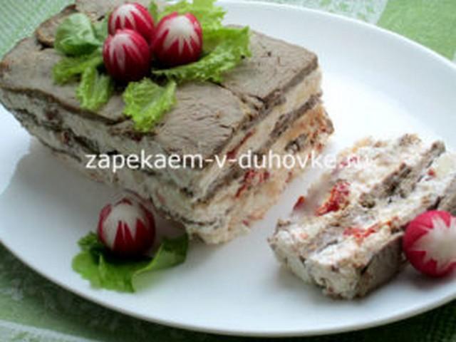 Террин из запеченного ростбифа с фетой и вялеными томатами