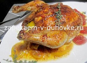курица запеченная в масле из аджики с лимоном