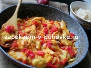 рыбное карри из трески,запеченной в духовке