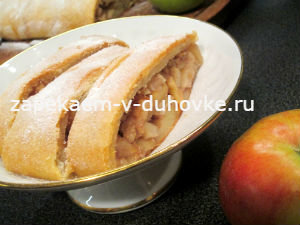 Яблочный штрудель из слоеного творожного теста