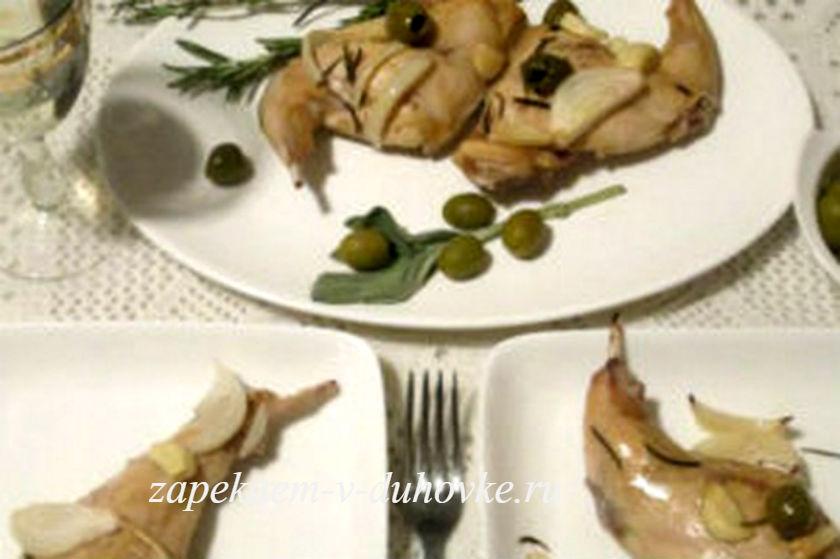 Кролик запеченный с розмарином и оливками