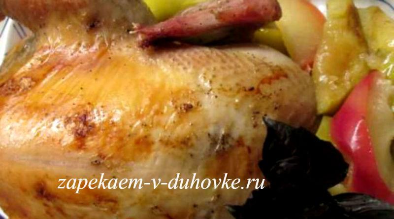Курица по-швабски с начинкой из лапши с грибами
