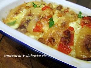 картофель с фетой под запеченными перцами