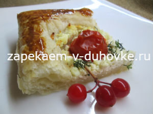 тарт с помидорами зеленью и творогом