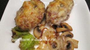 Котлеты с грибами запеченные в соусе бешамель