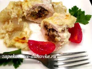 куриные крученики с начинкой из печени