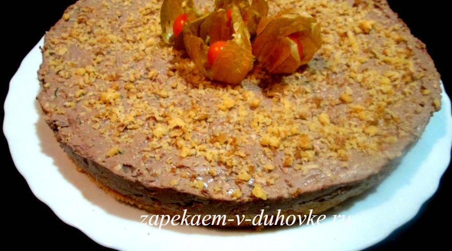 Закусочный печеночный торт с грибами