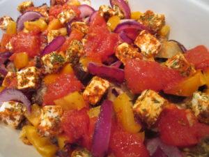 Овощное рагу с баклажанами запеченное с фетой