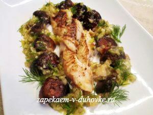 Рыбная коса с шампиньонами и оливками