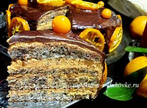 Торт маковый с вареной сгущенкой