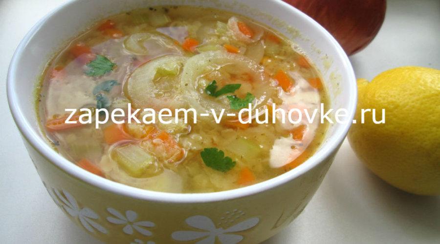 Чечевичный суп сельдереем постный