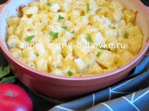 молодой картофель запеченный в духовке со сметаной и чесноком