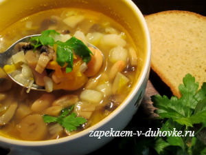Постный фасолевый суп с грибами