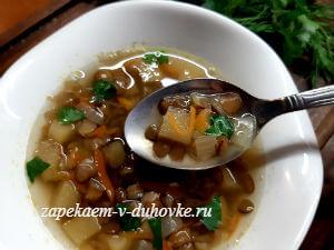 суп из зеленой чечевицы с репой