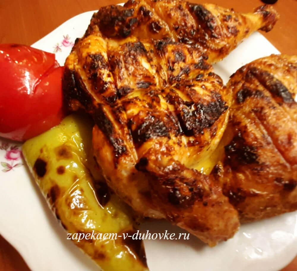 Запеченные цыплята с овощами гриль